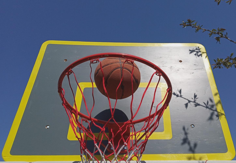 panoul de basket diy, gris cu dungi galbene, inelul si mingea